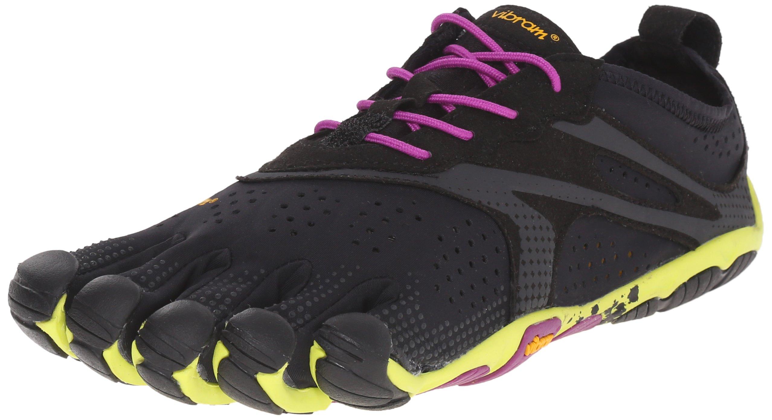 Vibram Women's V Running Shoe, Black/Yellow/Purple, 37 EU/7.0-7.5 M US B EU