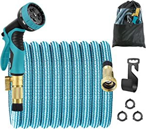 Garden Elves Expandable Garden Hose 75ft ,Flexible Lightweight Water Hose with 10 Modes Spray Nozzle ,Durable Leakproof Retractable 4 Layers Latex Watering Hose - Blue/Gray [2021 New Version]