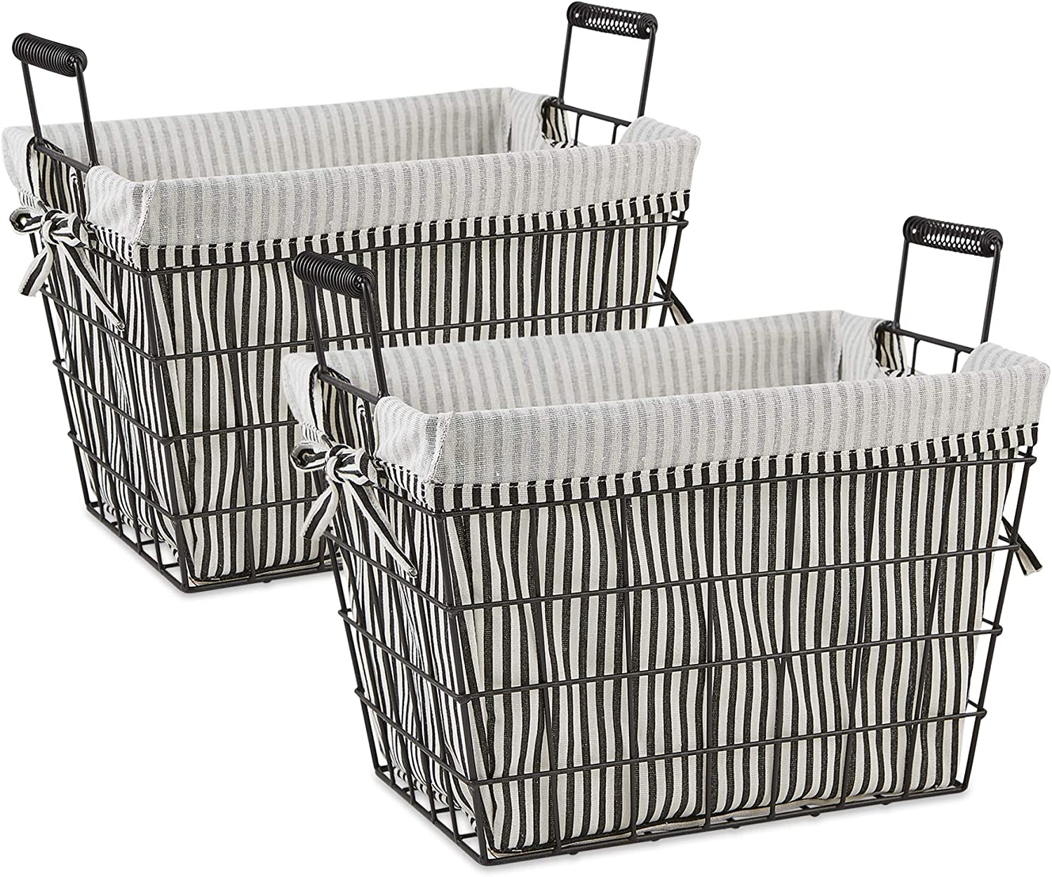 DII Farmhouse Office Collection Metal Storage, Lined Basket, Stripe Liner, 2 Piece