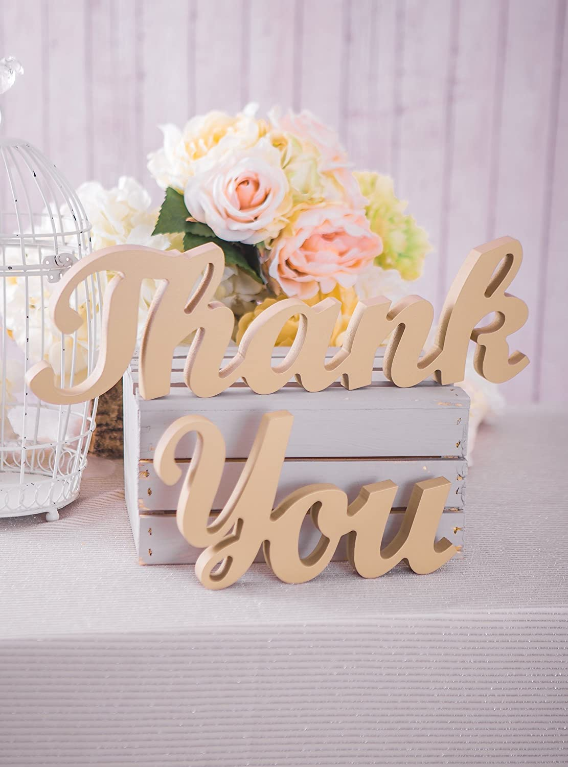 Large Thick Thank You Standing Signs Thank You Wedding Sign for Wedding Table Decor Standing Letters