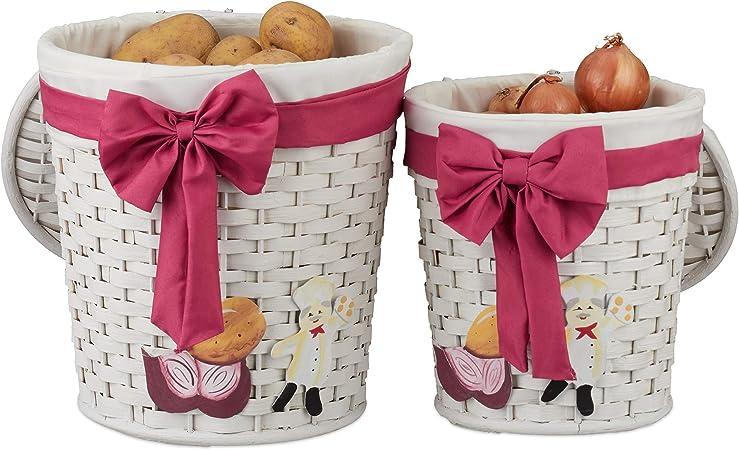 Relaxdays Set de dos cestas de almacenaje, Cajas decorativas con tapa, Blanco: Amazon.es: Hogar