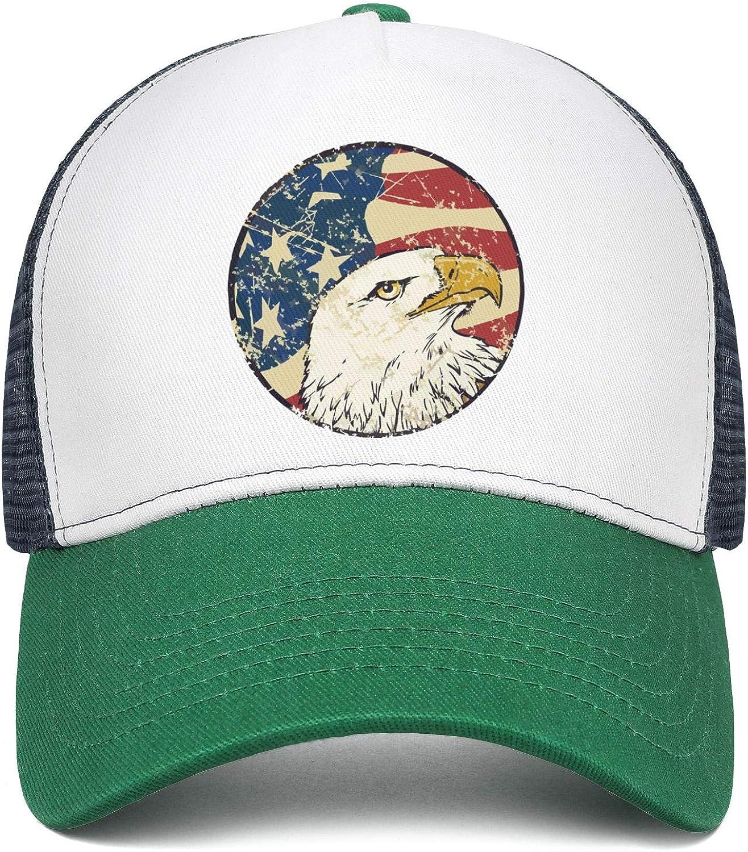 Retro Vintage American Flag Eagle Head Womens Men Mesh Baseball Cap Adjustable Snapback Travel Cowboy Hat