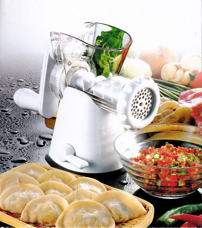 Manual Meat Mincer Grinder & Vegetable Shredder, Biscuit Machine Cookie Maker (White) by Konstar (Image #2)