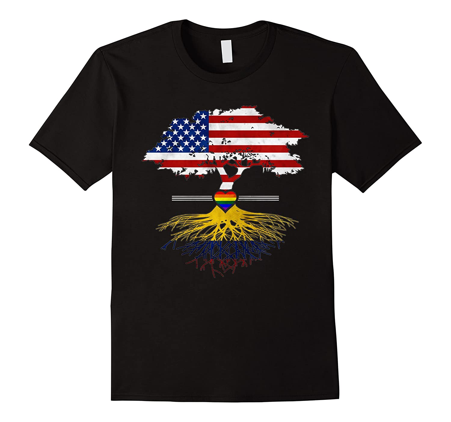 American Grown Colombian Roots Gay Heart LGBT Pride T-Shirt-CD