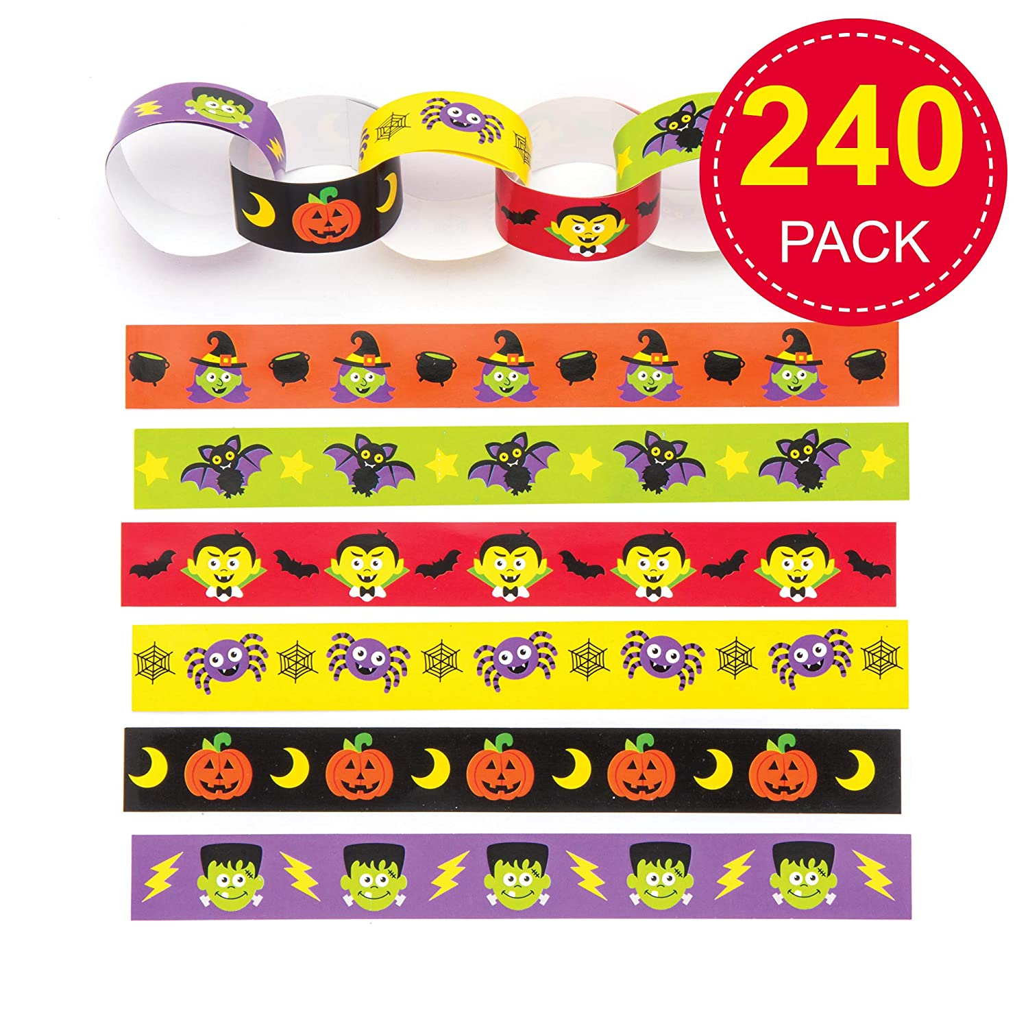 Pack of 240 for Kids Halloween Crafts and Ornaments Baker Ross AR663 Halloween Paper Chains