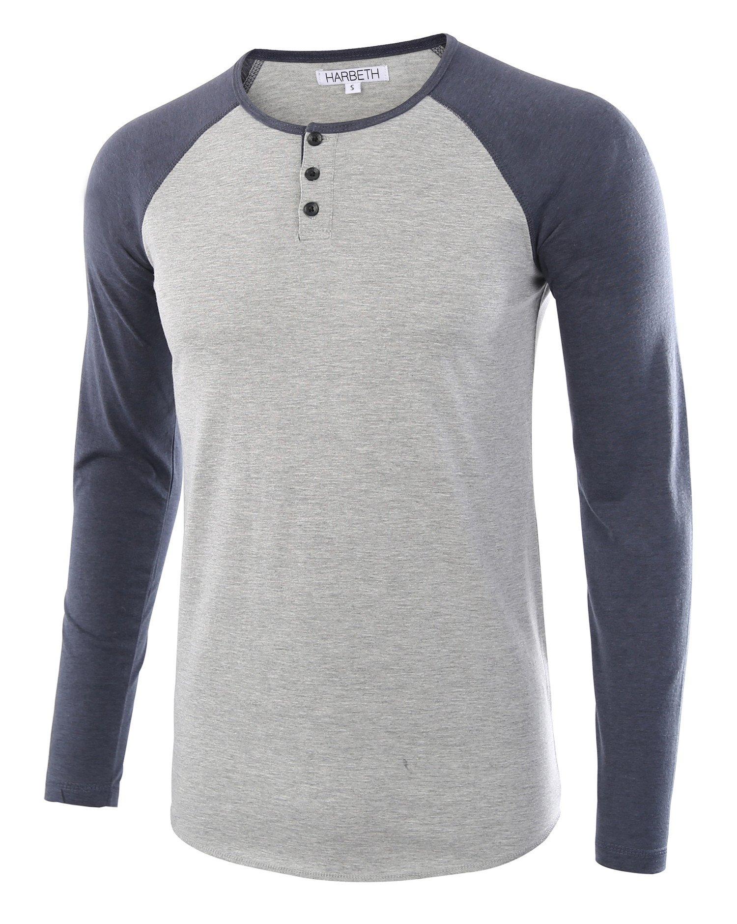 HARBETH Men's Casual Long Sleeve Henley Shirt Raglan Fit Baseball T-Shirts Tee H.Gray/C.Blue M