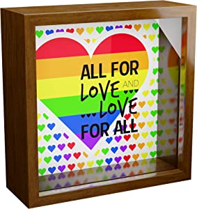 Gay Pride Gifts | 6x6x2 Rainbow Themed Shadow Box | LGBT Wall Decor Frame for Gay or Lesbian Couple | Love Memory Box for LGBTQ Community | Great for Home Decoration | Perfect Gay Wedding Gift