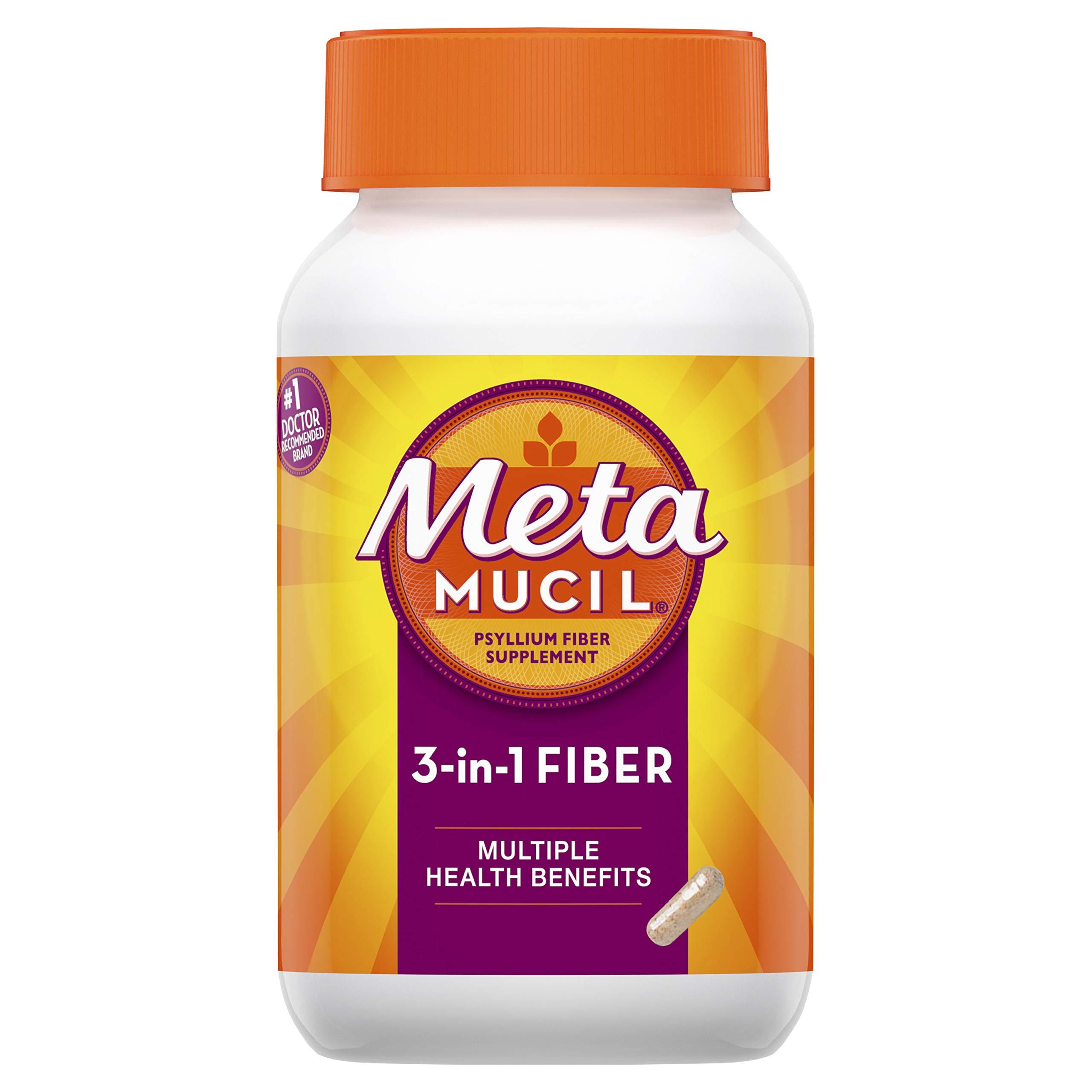 Metamucil Fiber, 3-in-1 Psyllium Capsule Fiber Supplement, 160 ct Capsules (Packaging May Vary) by Metamucil