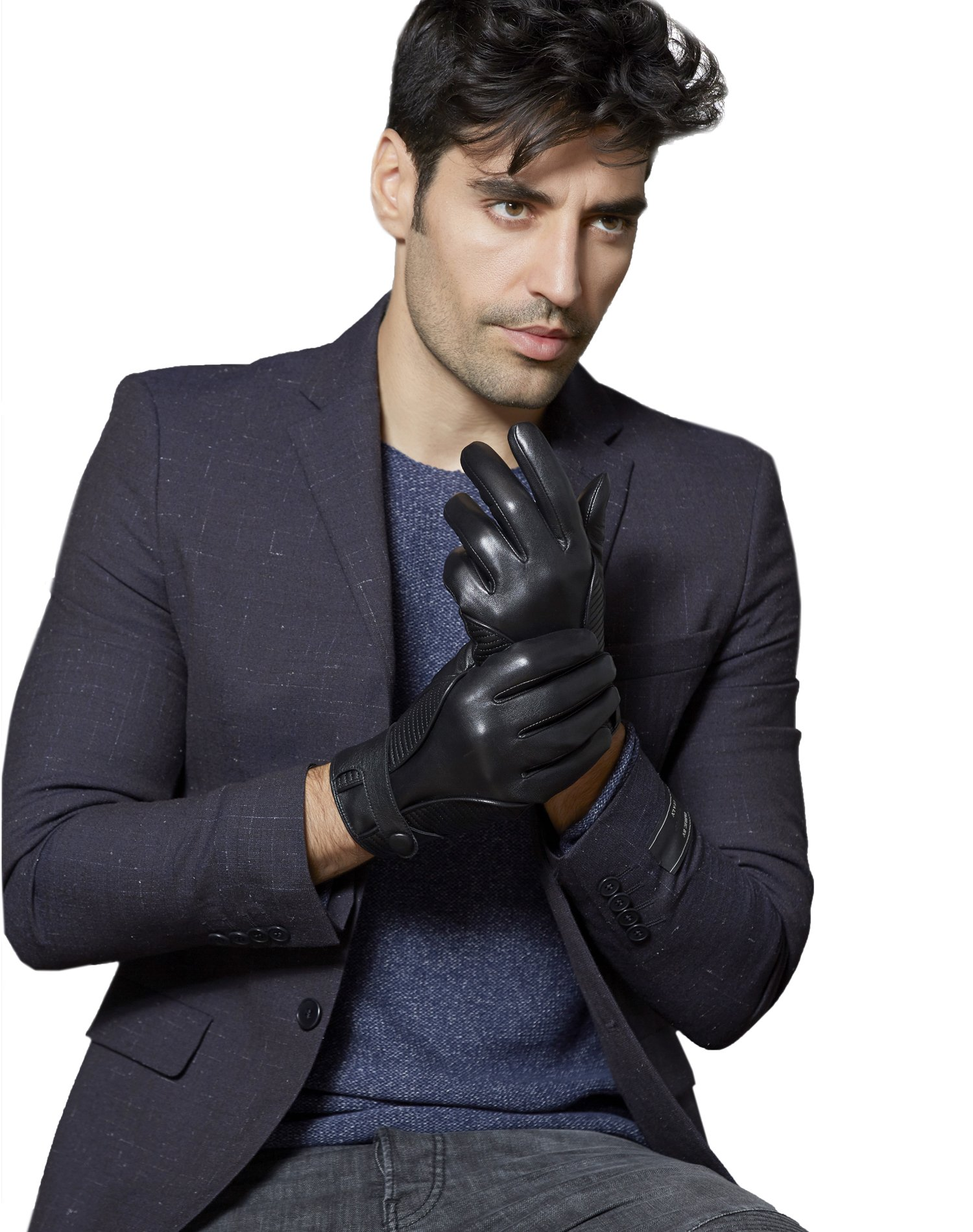 Fioretto 10% OFF Mens Gifts Mens Leather Gloves for Winter Driving Gloves Italian Nappa Leather Lined Motorcycle Gloves Mens Gloves Black L/XL