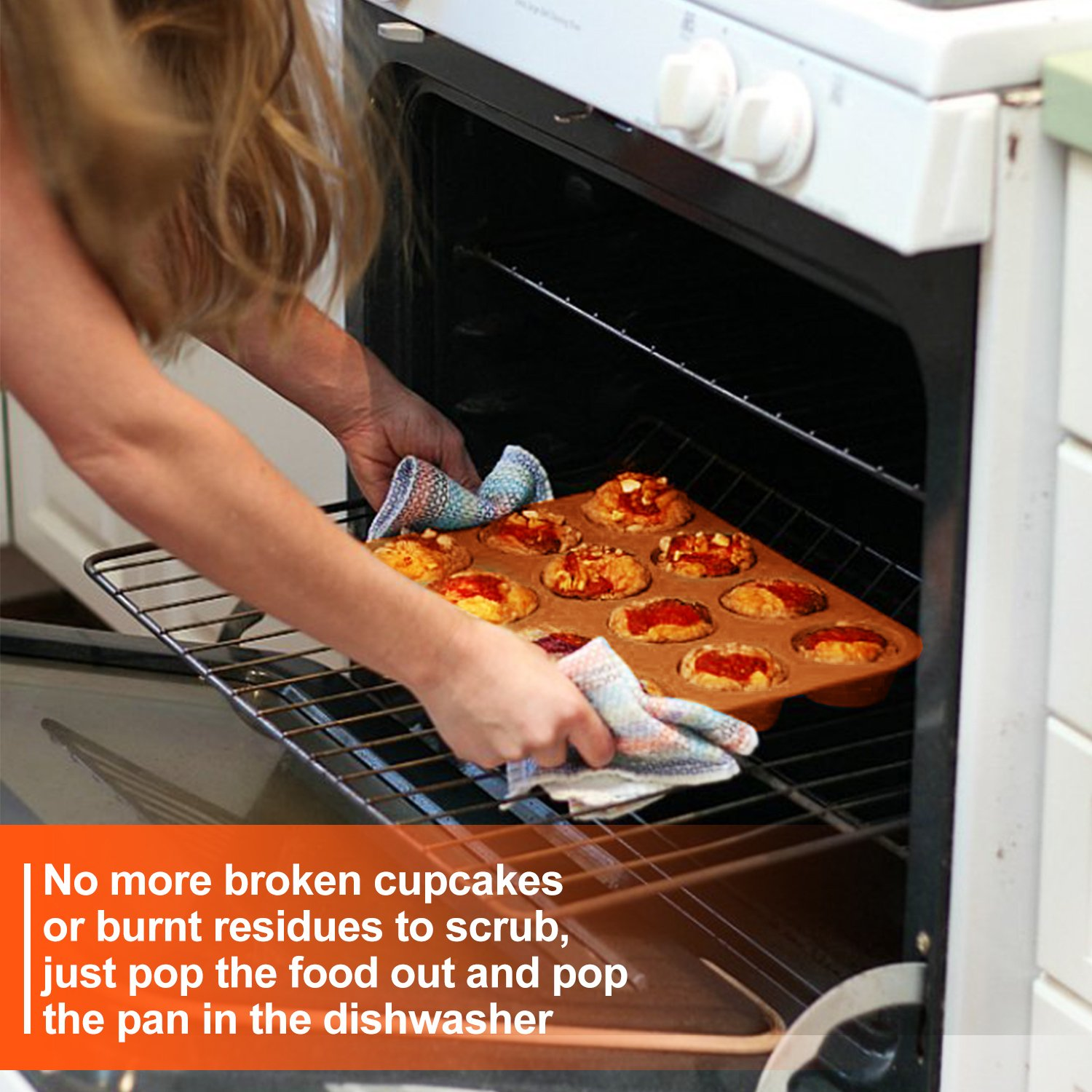 FITNATE Bakeware Silicone Muffin Pan 12 Cup, BPA-free, Non Stick by FITNATE (Image #2)