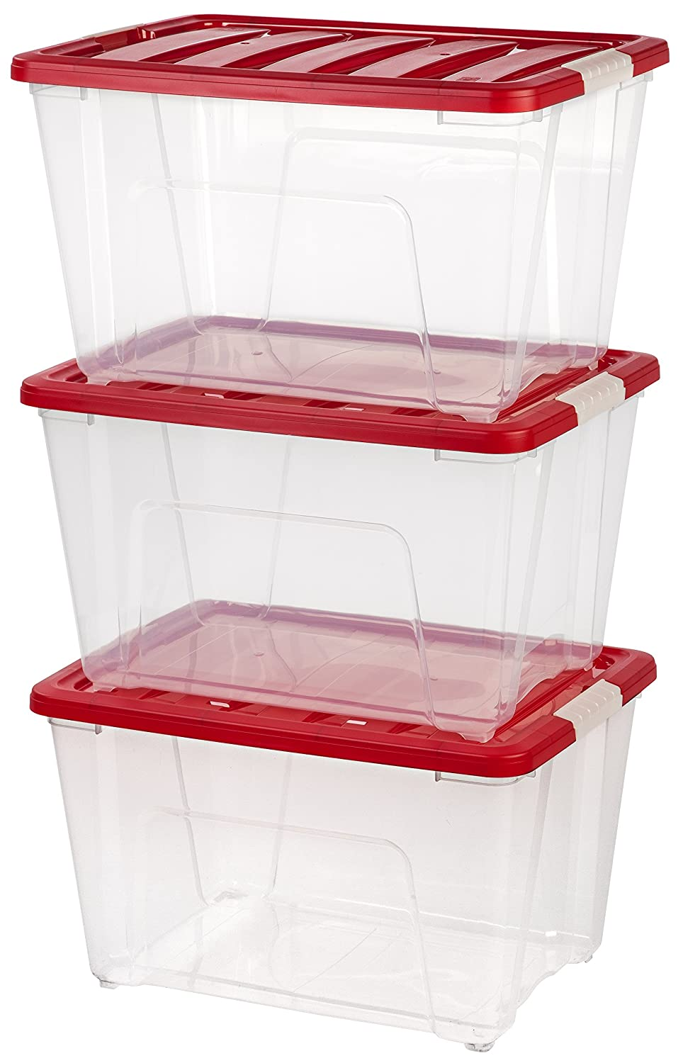 Amazon.com: IRIS 53 Quart Holiday Plastic Storage Tote Set, 3 Pack ...