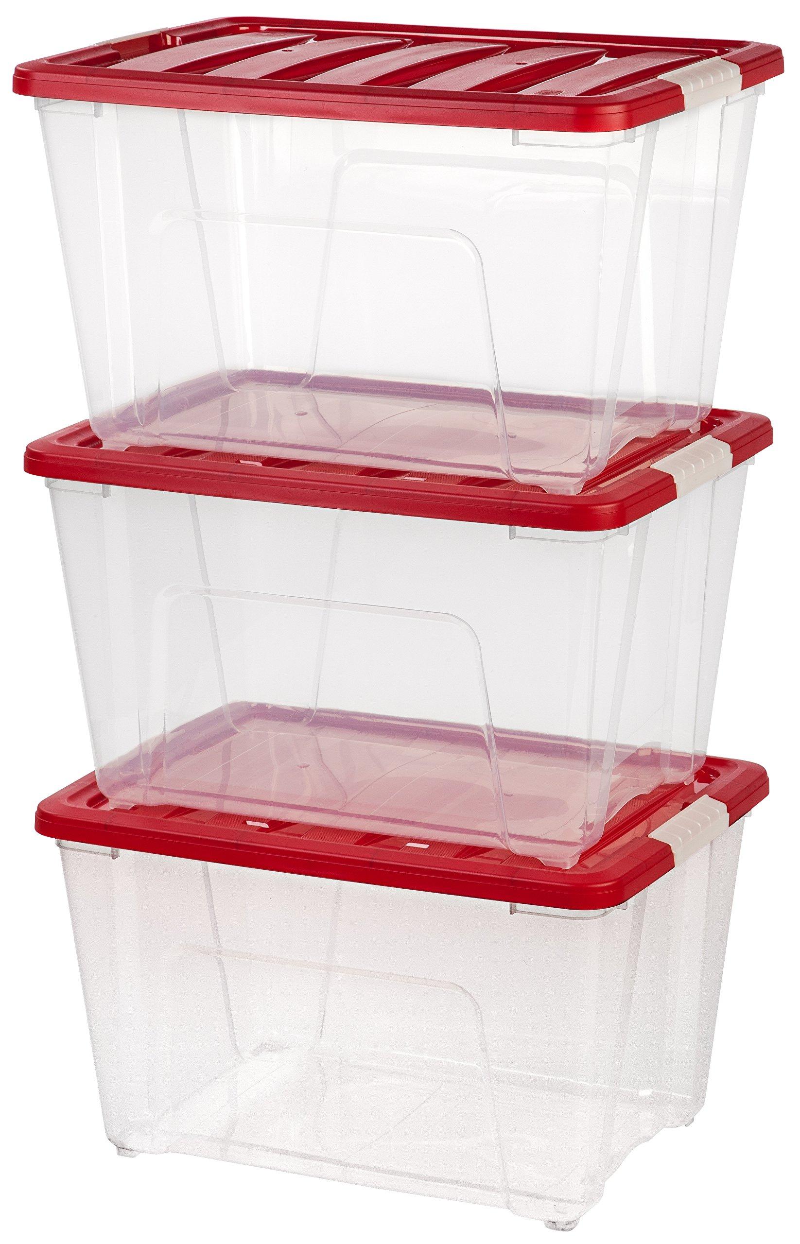 IRIS 53 Quart Holiday Plastic Storage Tote Set, 3 Pack, Red