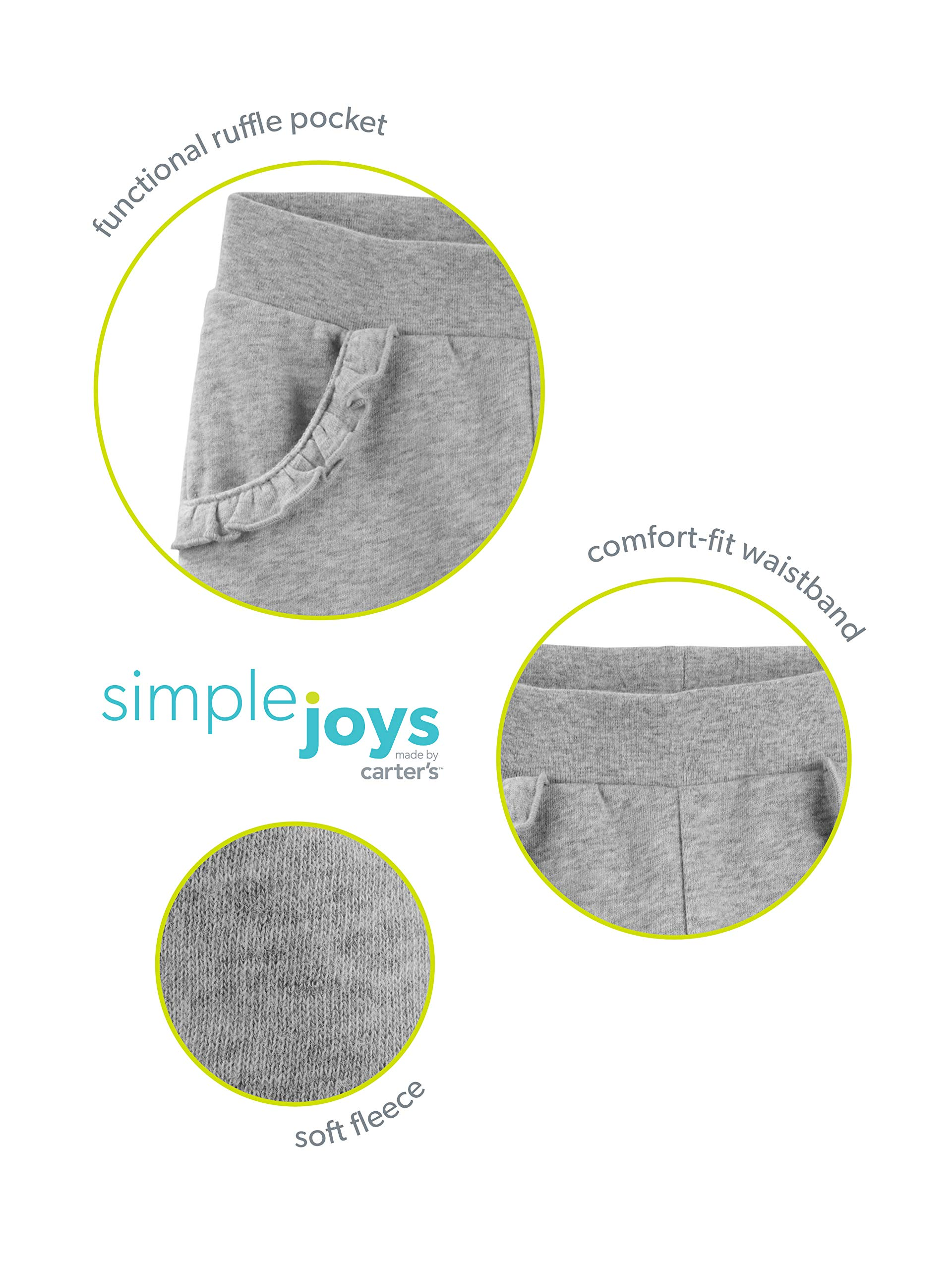 Simple Joys by Carter's Girls' Toddler 2-Pack Pull on Fleece Pants, Gray/Pink, 3T by Simple Joys by Carter's (Image #3)