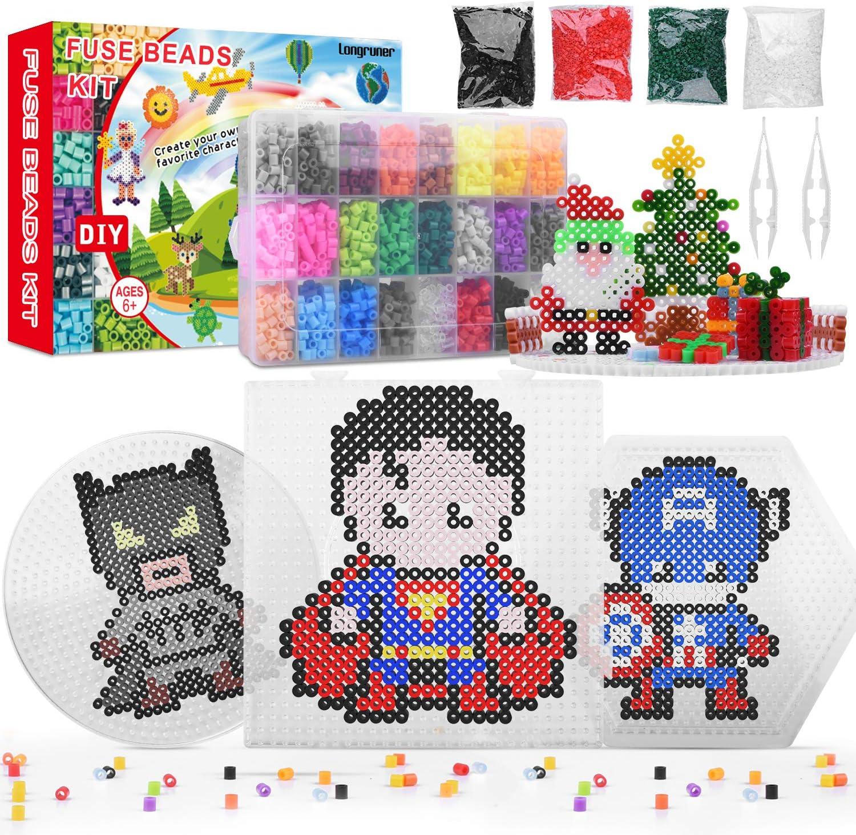Longruner Abalorios Cuentas de Hierro fusibles 12000 PCS Beads 24 Colores 3 Pegboard+50 Imagine Fuse Beads para Niños Pared pixelado en Juguetes Educativos Cuentas de Artesanía LA26