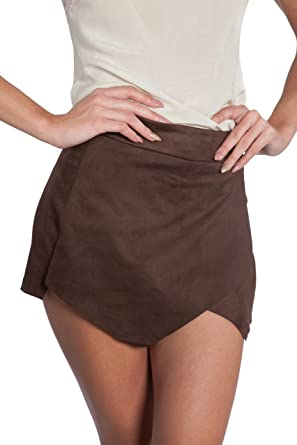 bbeca36c67 shopatniche Womens Brown Suede Faux Wrap Skort by Necessary Objects (Small,  Brown)