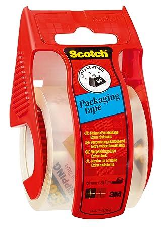 3M E5020EU - Cinta adhesiva de embalar (48 mm x 20,3 m), transparente: Amazon.es: Oficina y papelería
