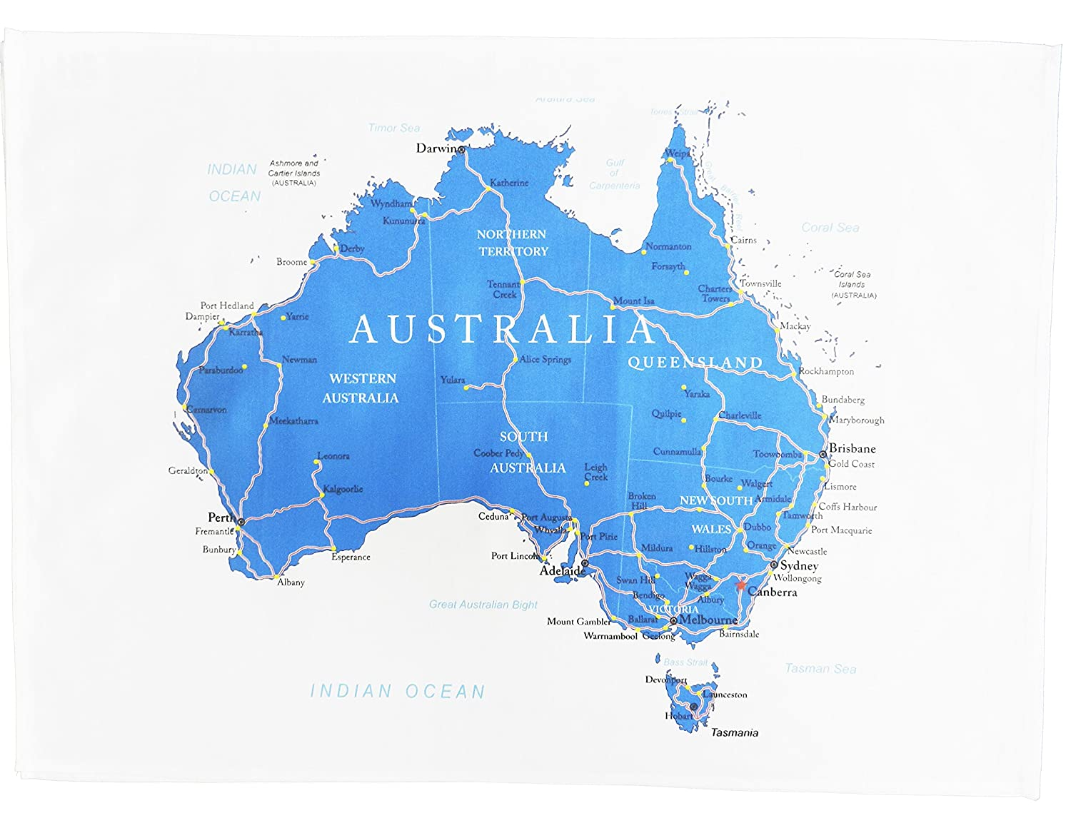 Australia Map Main Cities.Half A Donkey Map Of Australia Showing The States Main Cities And Roads Large Cotton Tea Towel