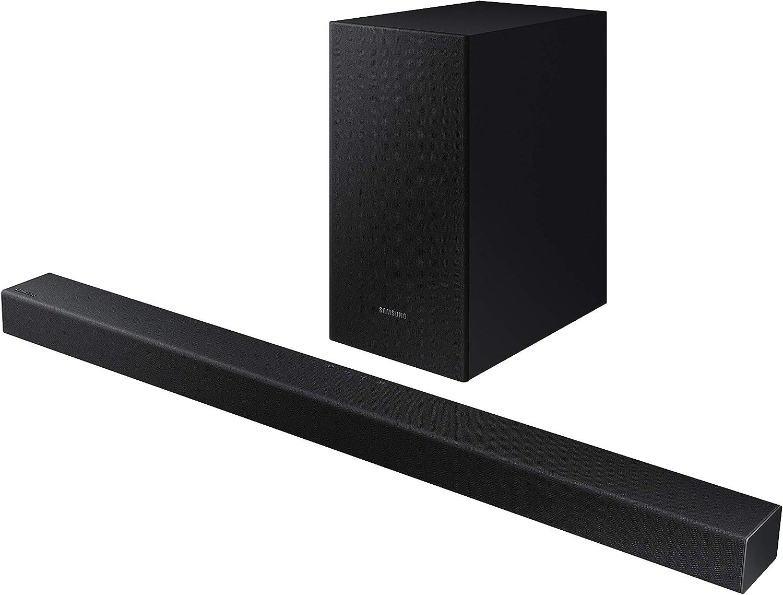Samsung HW-T450 - Barra de Sonido, Sonido 200W, 2.1Ch, Subwoofer Inalámbrico, Dolby Digital 2.1, Modo Juego, Bluetooth 4.2 Power On y One Remote Control, versión 2020