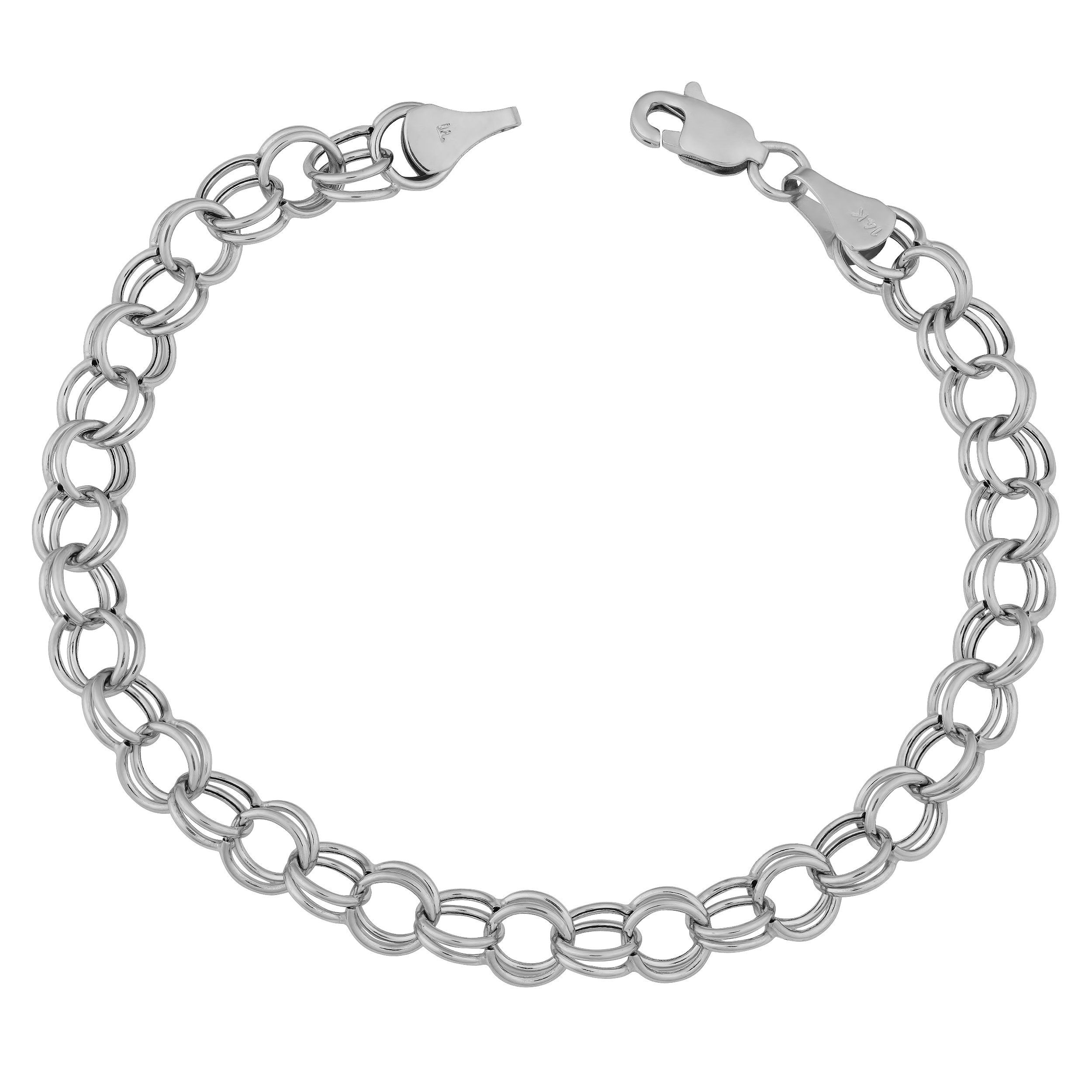 14k Solid White Gold 6mm Classic Charm Bracelet (8 inch)