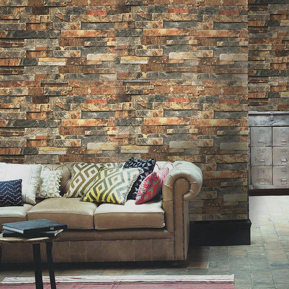 Blooming Wall Faux Vintage Brick Stone Wood