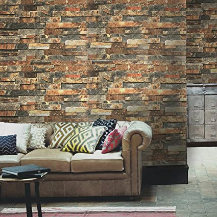 Blooming Wall Faux Vintage Brick Stone Wood Panel Peel and Stick ...