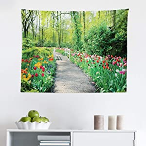 """Lunarable Garden Tapestry, Tulips in Keukenhof Gardens and Path Along Colorful Flowers Trees Nature Landscape, Fabric Wall Hanging Decor for Bedroom Living Room Dorm, 28"""" X 23"""", Multicolor"""