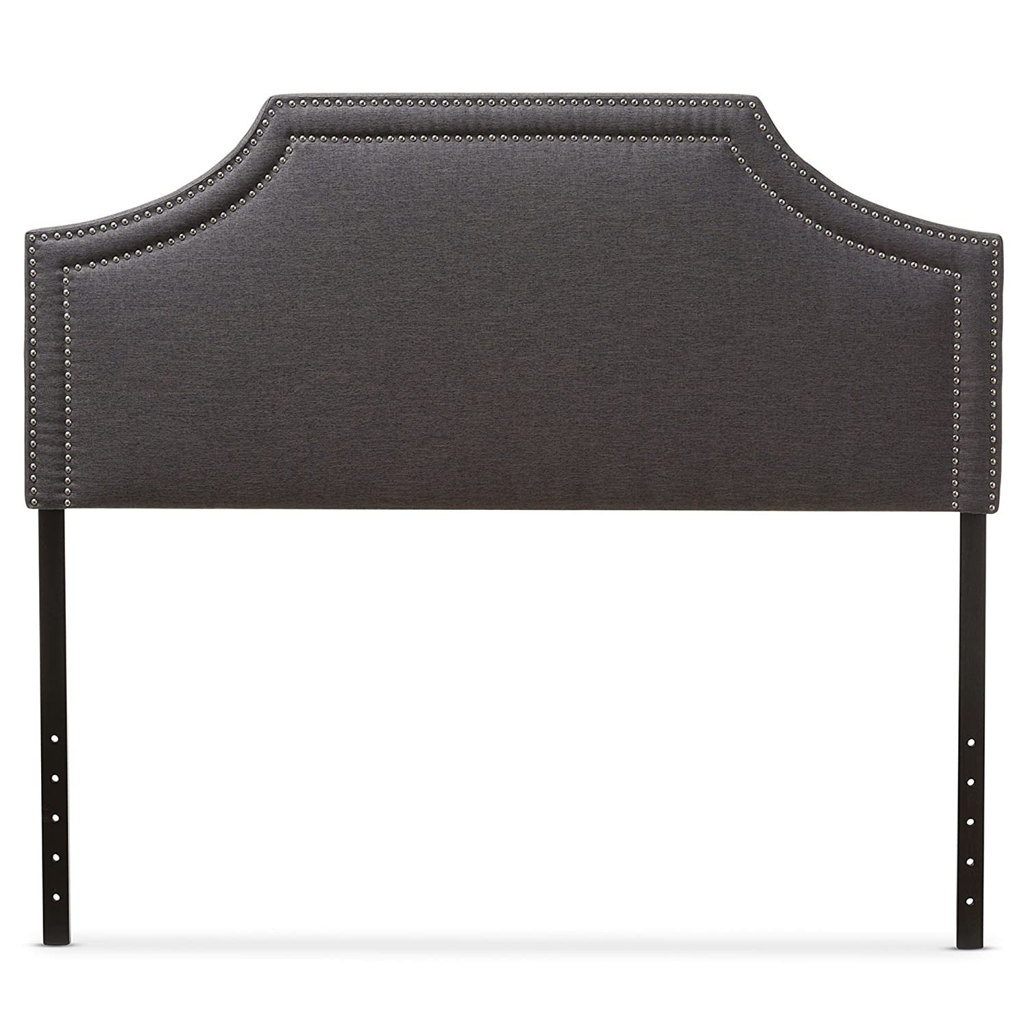 Baxton Studio Guilford Modern & Contemporary Fabric Upholstered Headboard, Full, Dark Grey Wholesale Interiors 424-6866-AMZ