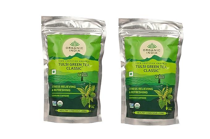 Organic India Tulsi Green Tea Classic, 100 Grams (Pack of 2