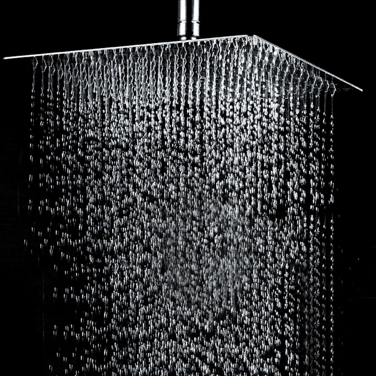12'' Square Stainless Steel Body Rain Shower Head Rainfall Bathroom Top Sprayer Mirror Surface Modern Style Bath Connection Stand 1/2'' Brand New