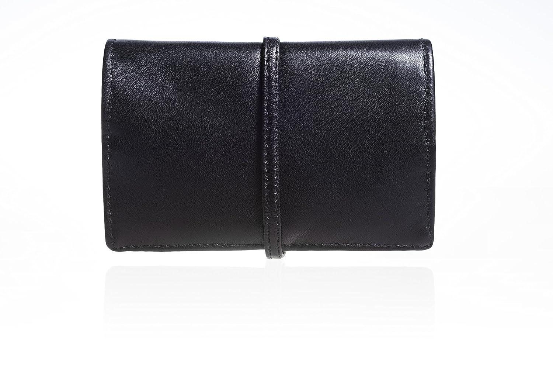 Astuccio borsello portatabacco nero di vera pelle con laccio unisex - idea regalo