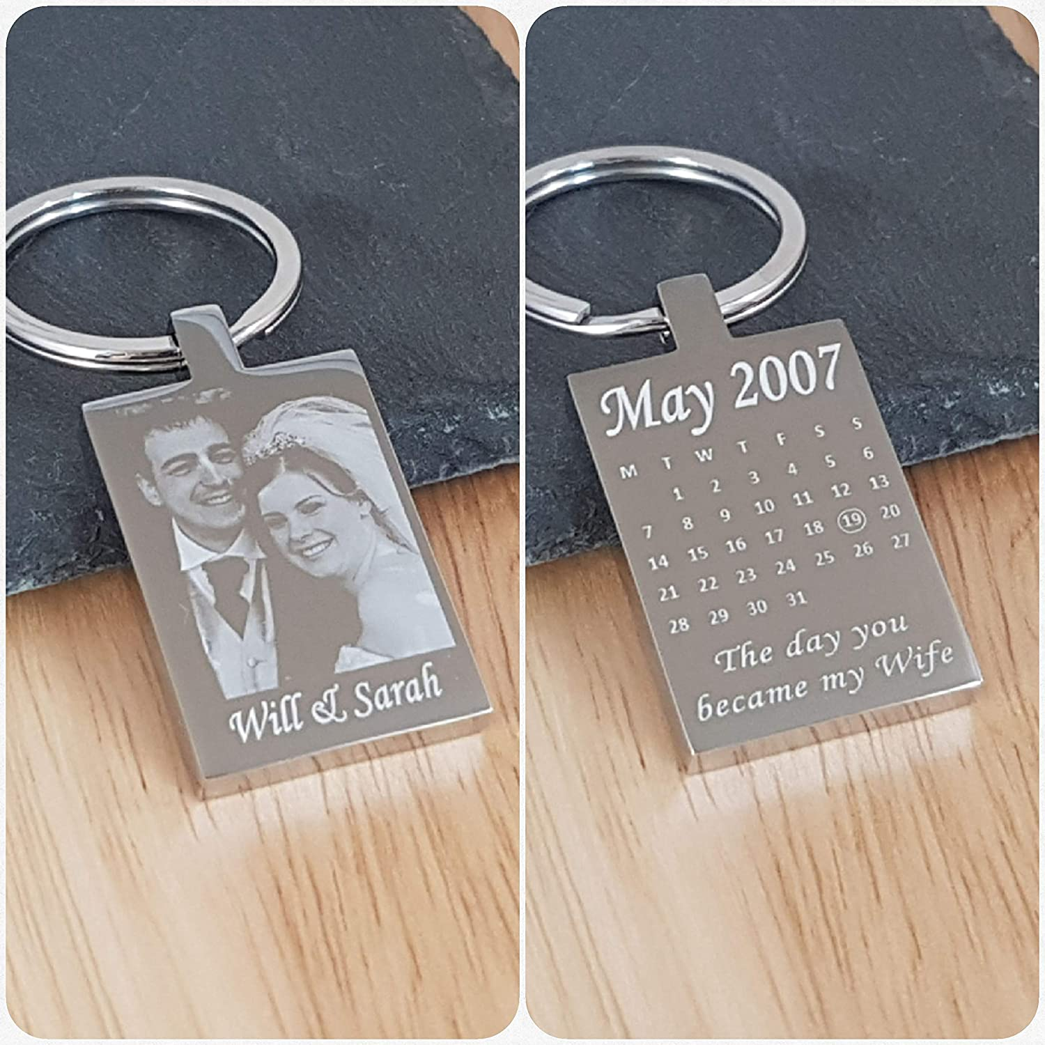 Fathers day Personalised Engraved  Kids Drawing High Quality Rectangle Keyring