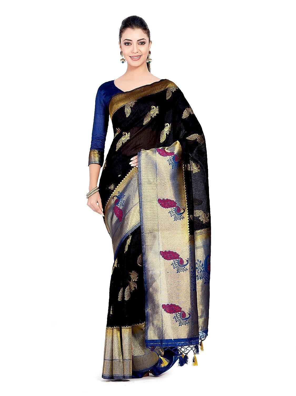 Black Color Kanchipuram Art Silk Saree With Un-Stiched Blouse