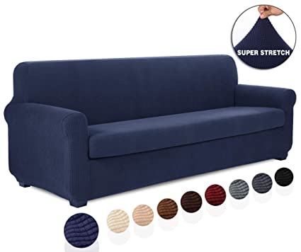 Fantastic Tianshu 2 Piece Sofa Slipcover Stretch Couch Cover For Sofa Stylish Jacquard Furniture Covers Xl Sofa Navy Blue Inzonedesignstudio Interior Chair Design Inzonedesignstudiocom