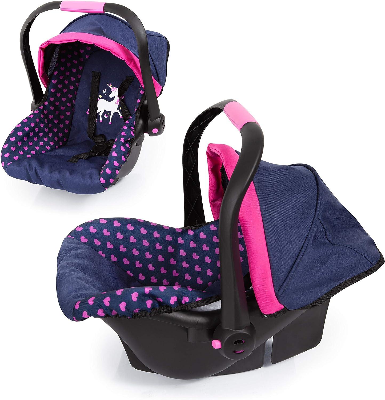 Bayer Design Silla de coche Easy Go, accesorios, Asiento para bebé de Muñecas, color azul con motivo de corazón y unicornio (67954AA) , color/modelo surtido