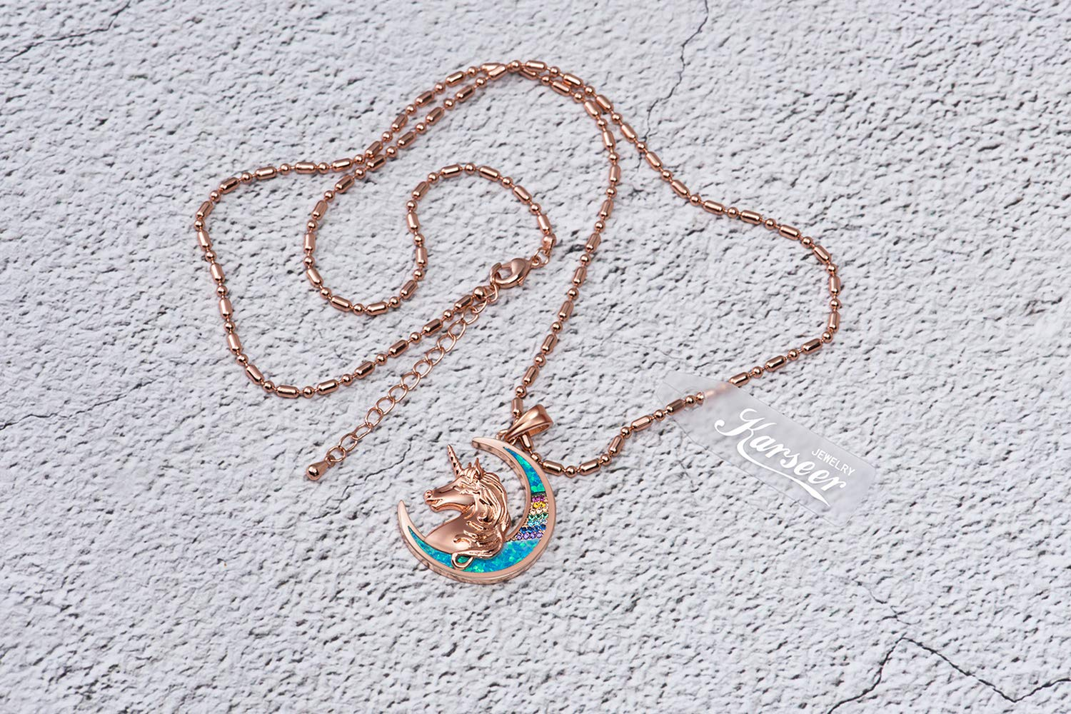 Karseer Unicorn Crescent Moon Pendant Necklace Rainbow Crystal and Glitter Opal Dream Star Series Magic Necklaces… 7