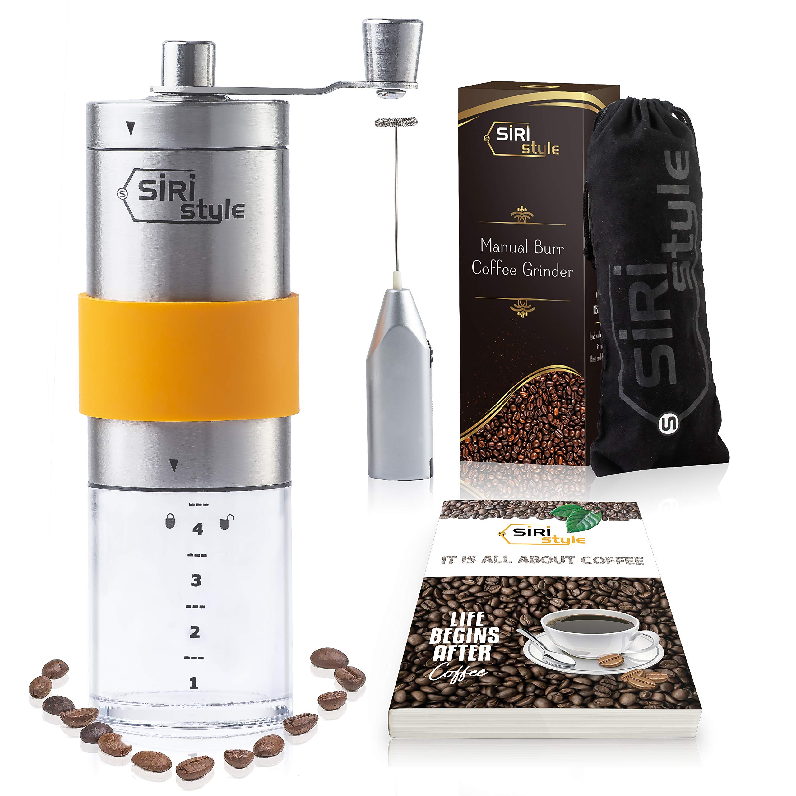 Portable Manual Coffee Grinder – Stainless Steel Coffee Bean Mill – Travel Burr Grinder – Hand Crank Coffee Grinder, Silicone Grip, Measuring Container + FREE Milk Frother, Pouch, eBook by Siristyle