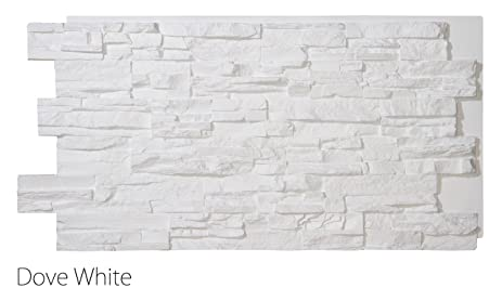 Faux Stacked Stone Wall Panels Interior Exterior 24u201d X 48u201d Dove White