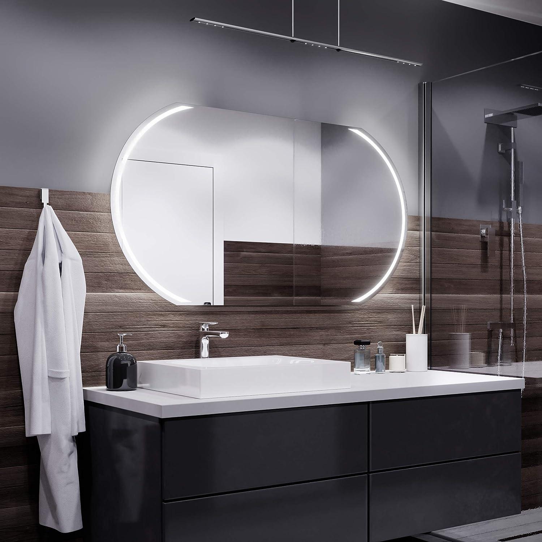 Alasta Spiegel Cairo Badspiegel mit LED Beleuchtung   Wandspiegel Badezimmerspiegel   Spiegel nach Maß (Weiß kalt, Breite 70cm X Höhe 50cm)