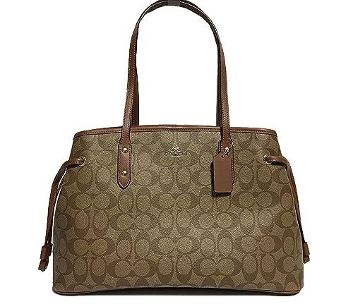coach signature drawstring carryall shoulder bag f57842 (khaki saddle)   Amazon.in  Shoes   Handbags 23d52f68db967
