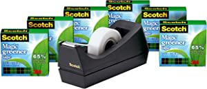 Scotch Brand Magic Greener Tape with C38 Desktop Dispenser, Made with Recycled or Plant Based Material, Invisible, Engineered for Repairing, 3/4 x 900 Inches, Boxed, 6 Rolls, 1 Dispenser (812-6PC38)