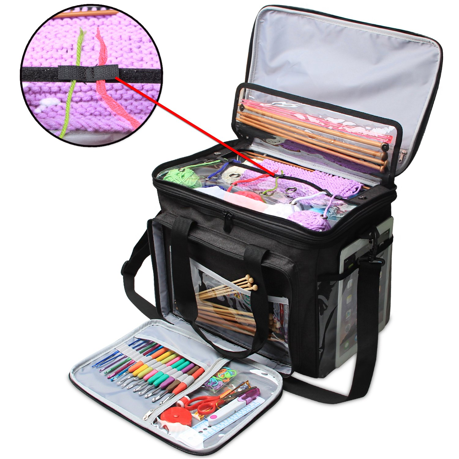 Teamoy Knitting Bag, Yarn Tote Organizer with Cover and Inner Divider (Sewn to Bottom) for Crochet Hooks, Knitting Needles(up to 14''), Project and Supplies, Black(No Accessories Included)