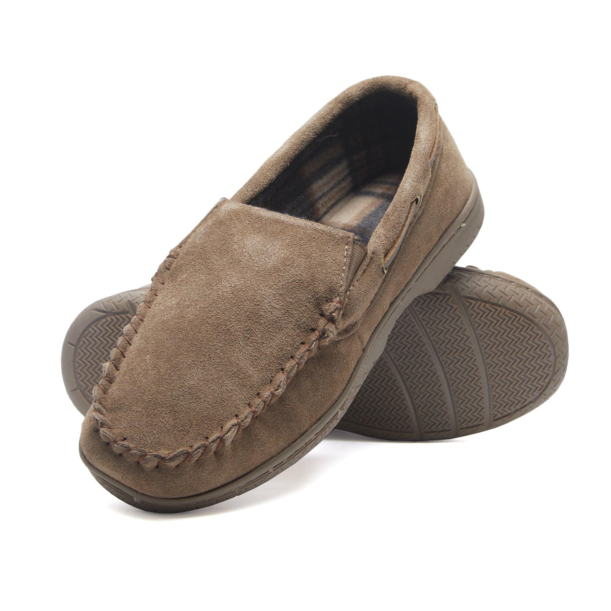 Heat Edge Mens Memory Foam Suede Slip on Indoor/Outdoor Venetian Moccasin Slipper Shoe (11, Taupe)