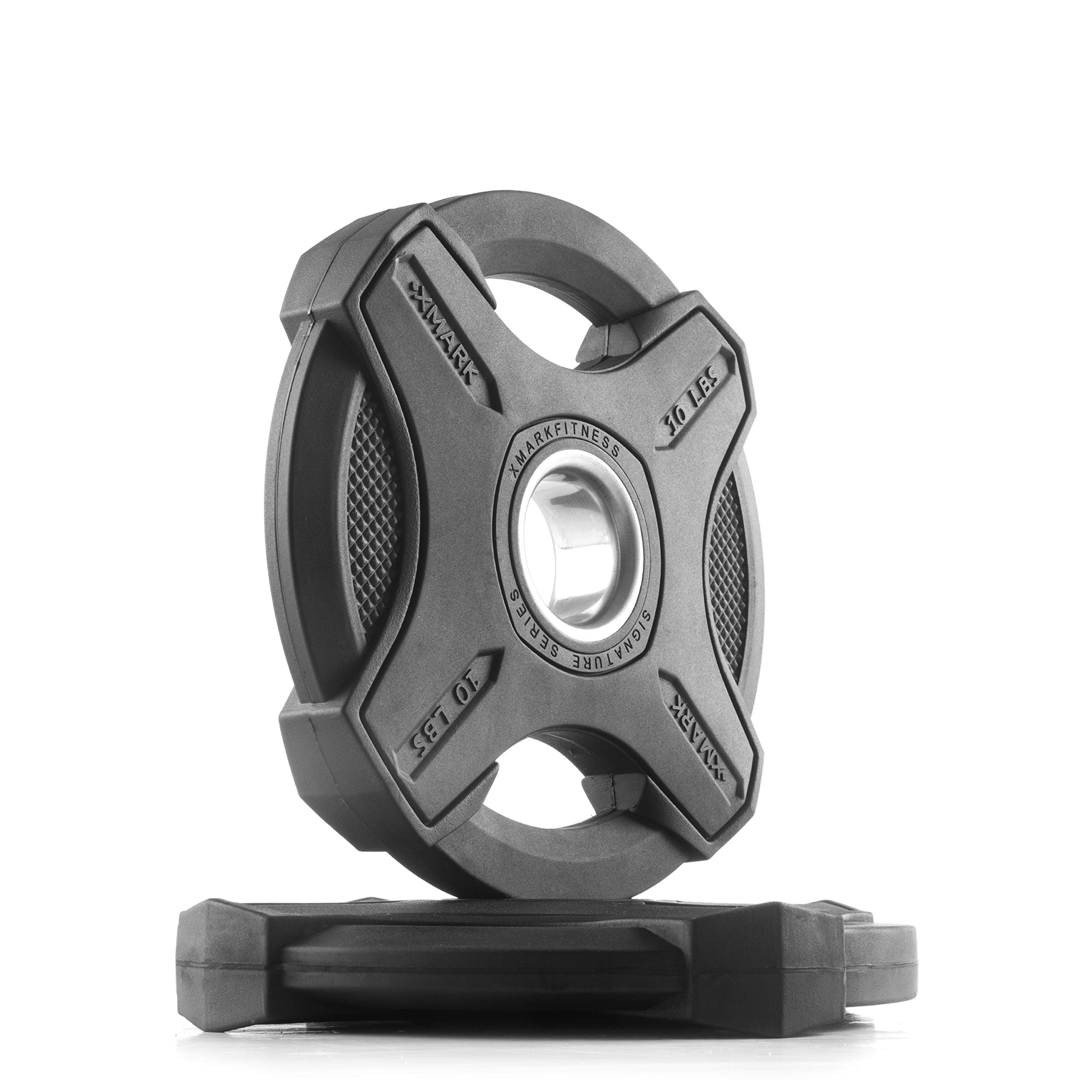 XMark 10 lb Pair Signature Plates, One-Year Warranty, Olympic Weight Plates, Cutting-Edge Design