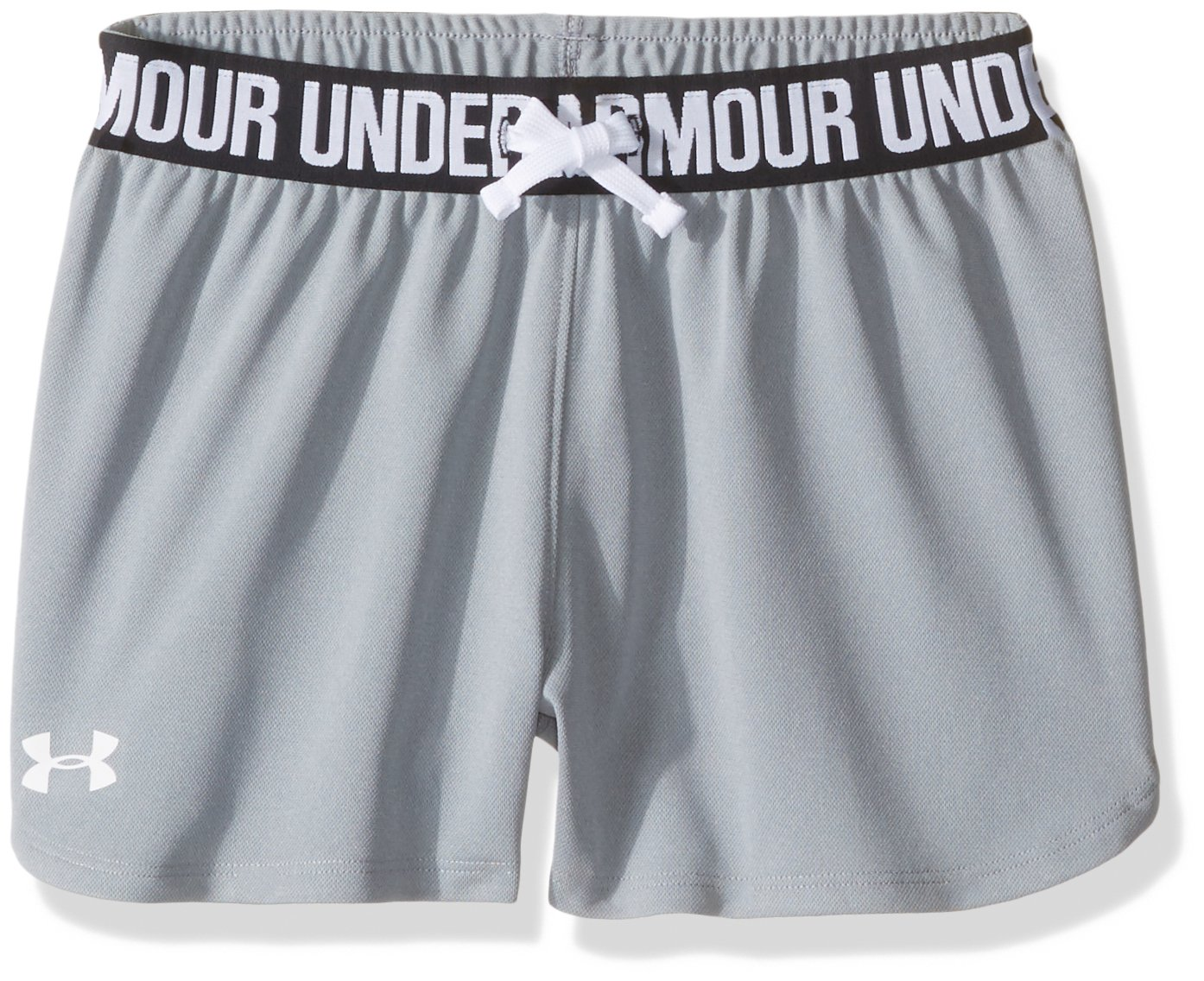 Under Armour Girls' Play Up Shorts, Steel /White, Youth Small by Under Armour
