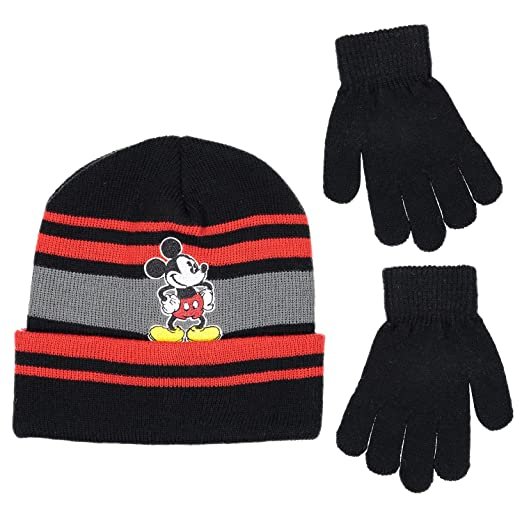4478f088aa9f10 Amazon.com: Disney Mickey Mouse Boys Beanie Knit Winter Hat And Mitten Set  - Toddler Size [4015]: Clothing