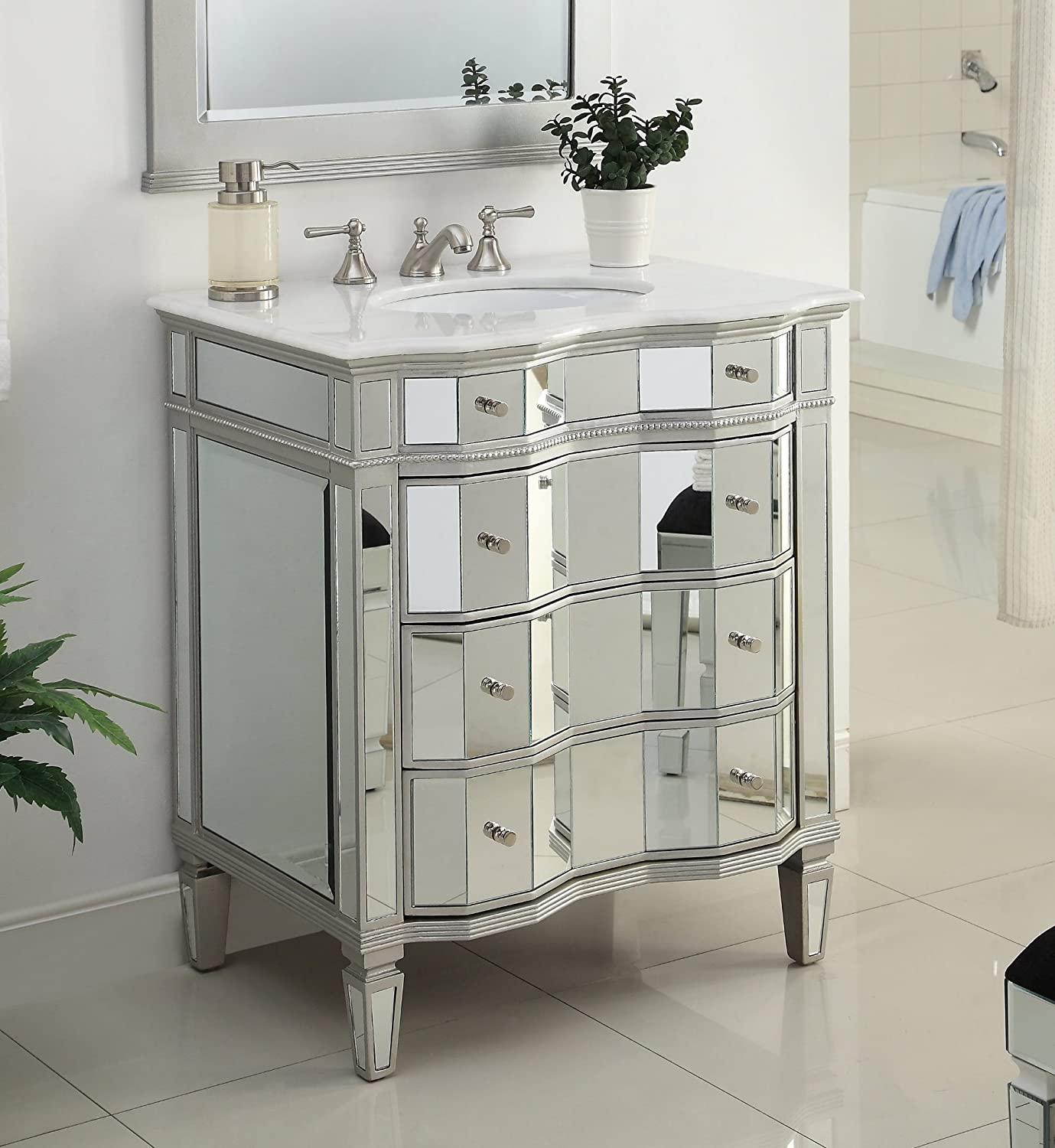 30  Mirrored w silver trim Bathroom Sink Vanity Cabinet Ashley Model BWV 025 Amazon com