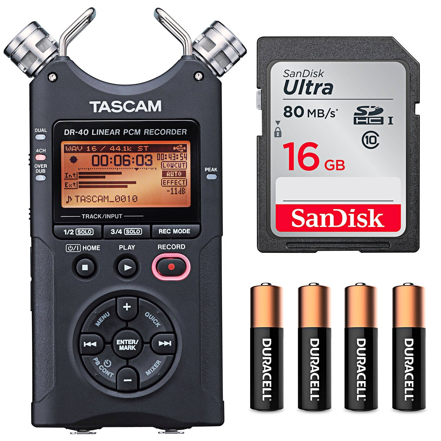 Tascam DR-40 4-Track Handheld Digital Audio Recorder with Basic Accessory kit