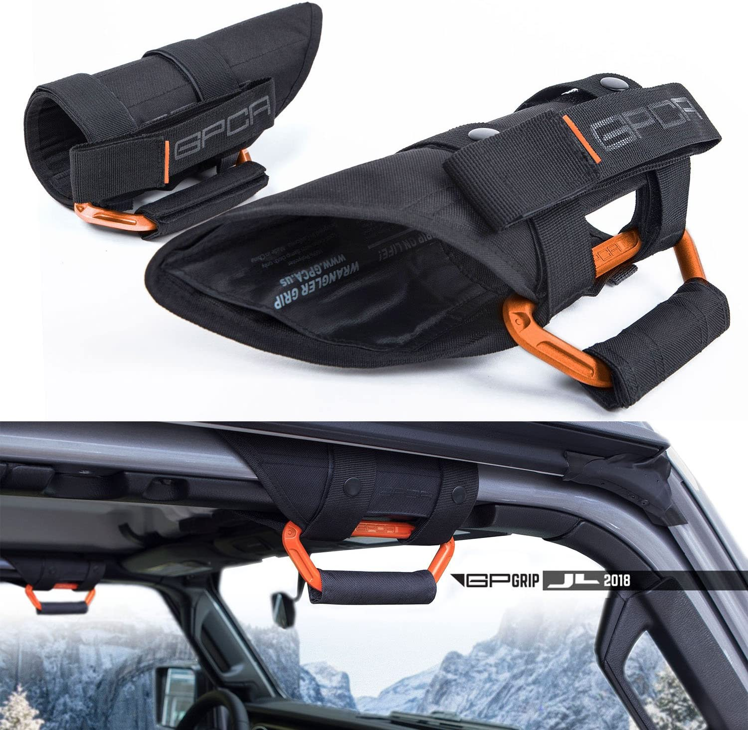 Pair GarberOrange GPCA GP-Grip PRO Grab Handle for Jeep Wrangler JL JK Sports//Sahara//Freedom//Rubicon X Unlimited X 2DR// 4DR 2007-2020 w// 3 roll Bars Universal to Front//Back