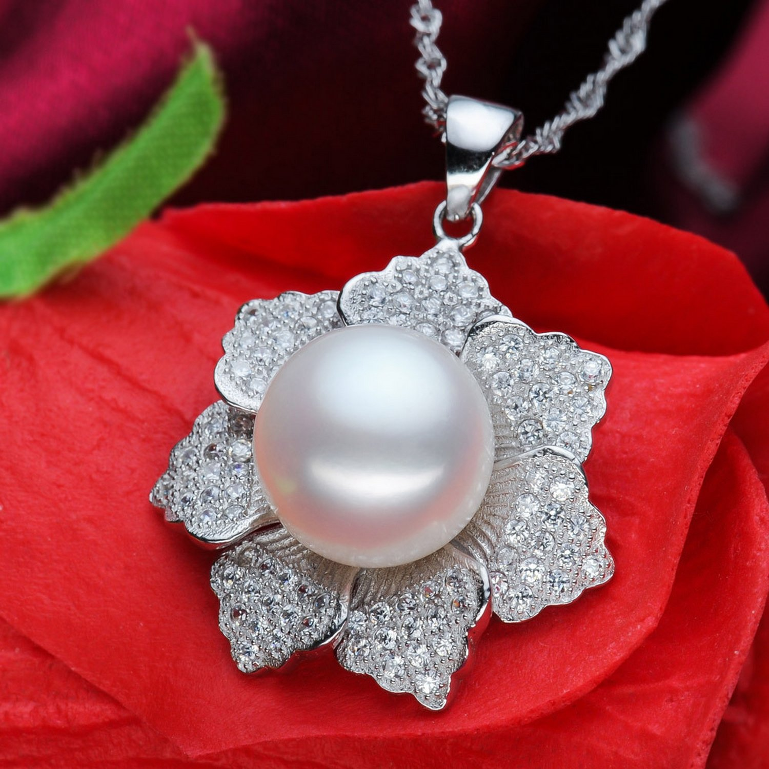 CS-DB Jewelry Silver Flower Design Pearl Chain Charm Pendants Necklaces