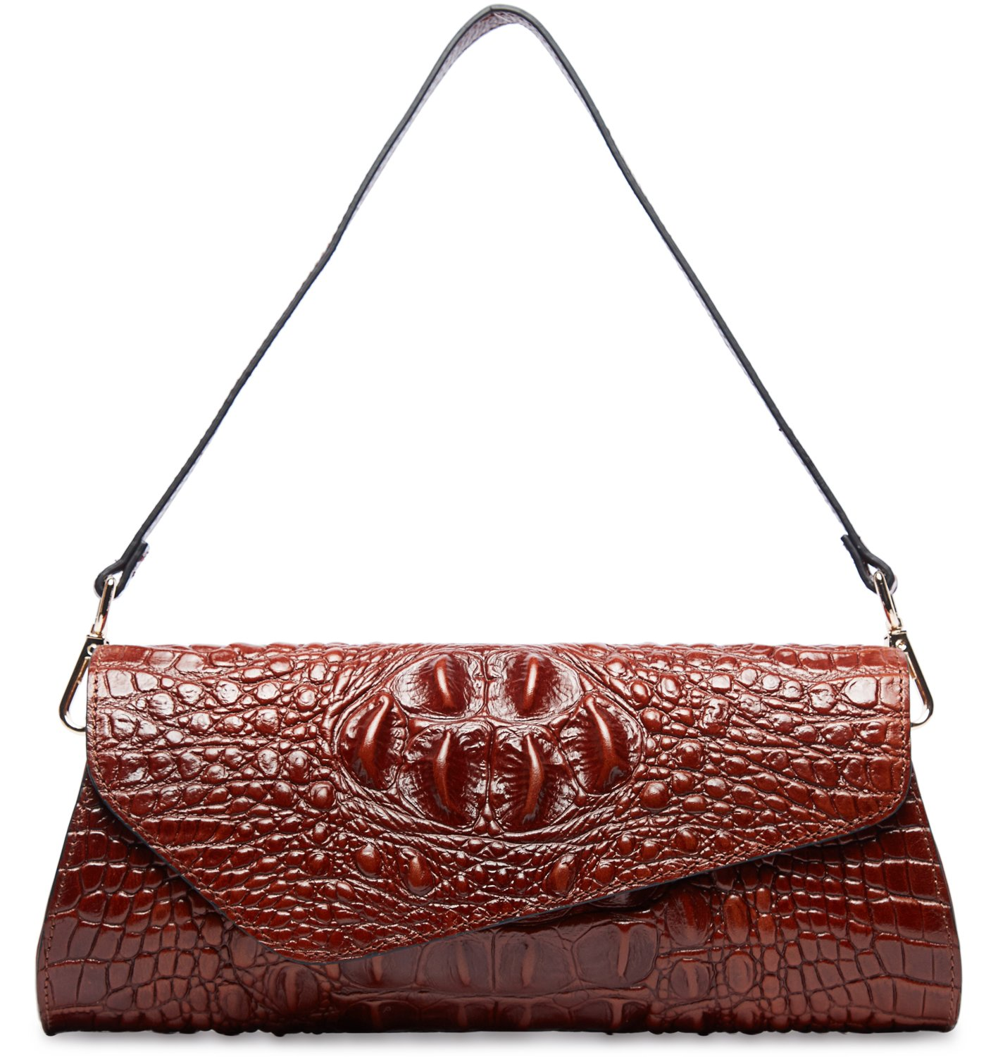 PIFUREN Womens Classic Evening Crocodile Skin Embossed Leather Party Clutch M1114 (One Size, Brown)